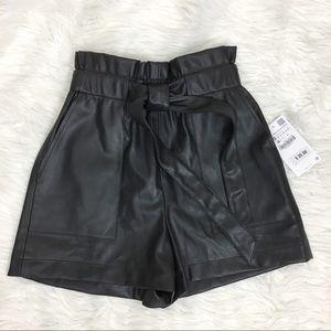 Zara Faux Leather High Rise Shorts Size XS